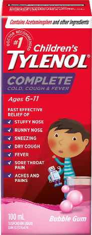 Children's TYLENOL® Complete Cold, Cough & Fever Nighttime Bubble Gum Burst