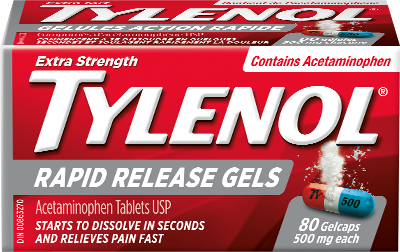 Tylenol Extra Strength Rapid Release Gels Packaging
