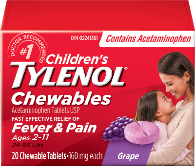 Children's Tylenol Chewables for Fever & Pain Packaging