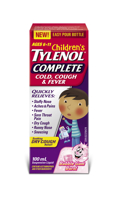 Children's TYLENOL® Complete Cold, Cough & Fever Nighttime Bubble Gum Burst