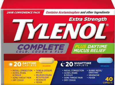 Extra Strength TYLENOL® Complete Cold, Cough & Flu Daytime & Nighttime