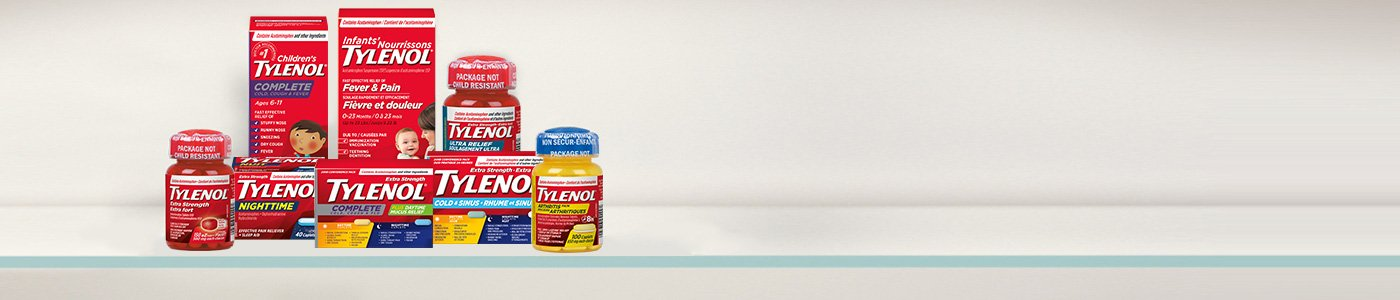 Banner containing various Tylenol products