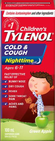 Children's TYLENOL® Cough & Cold Nighttime, Green Apple, 100ml