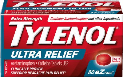 Extra Strength Tylenol Ultra Relief, Tough on Headaches Packaging