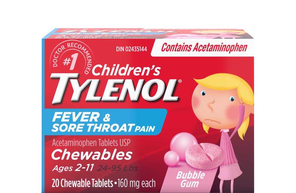 Children's Tylenol Fever & Sore Throat Pain Bubble Gum Flavour Chewable Tablets