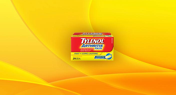 Tylenol Arthritis Pain Fast & Long Lasting packaging banner