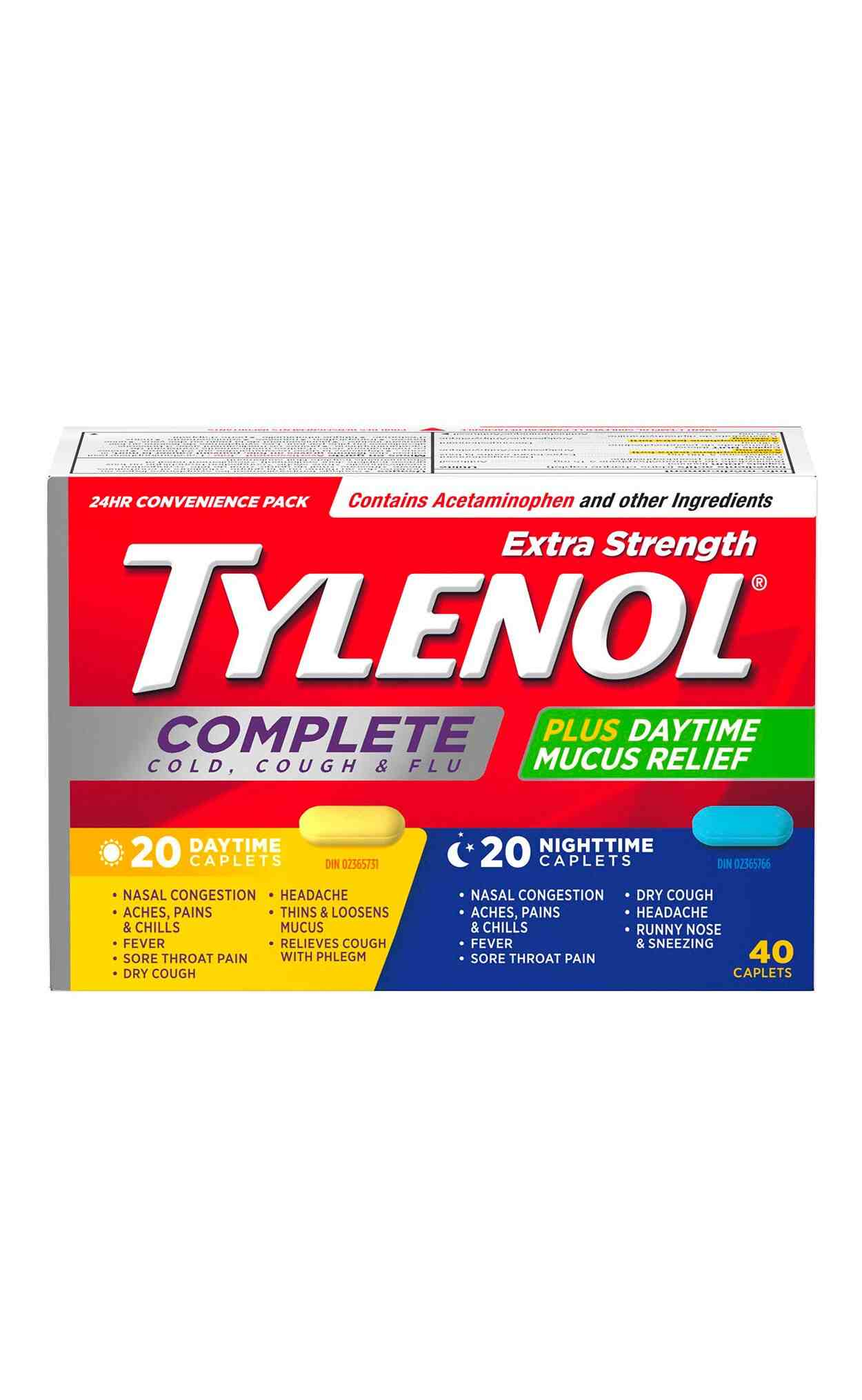 Extra Strength TYLENOL® Complete Cold, Cough & Flu Daytime & Nighttime, 40 tablets